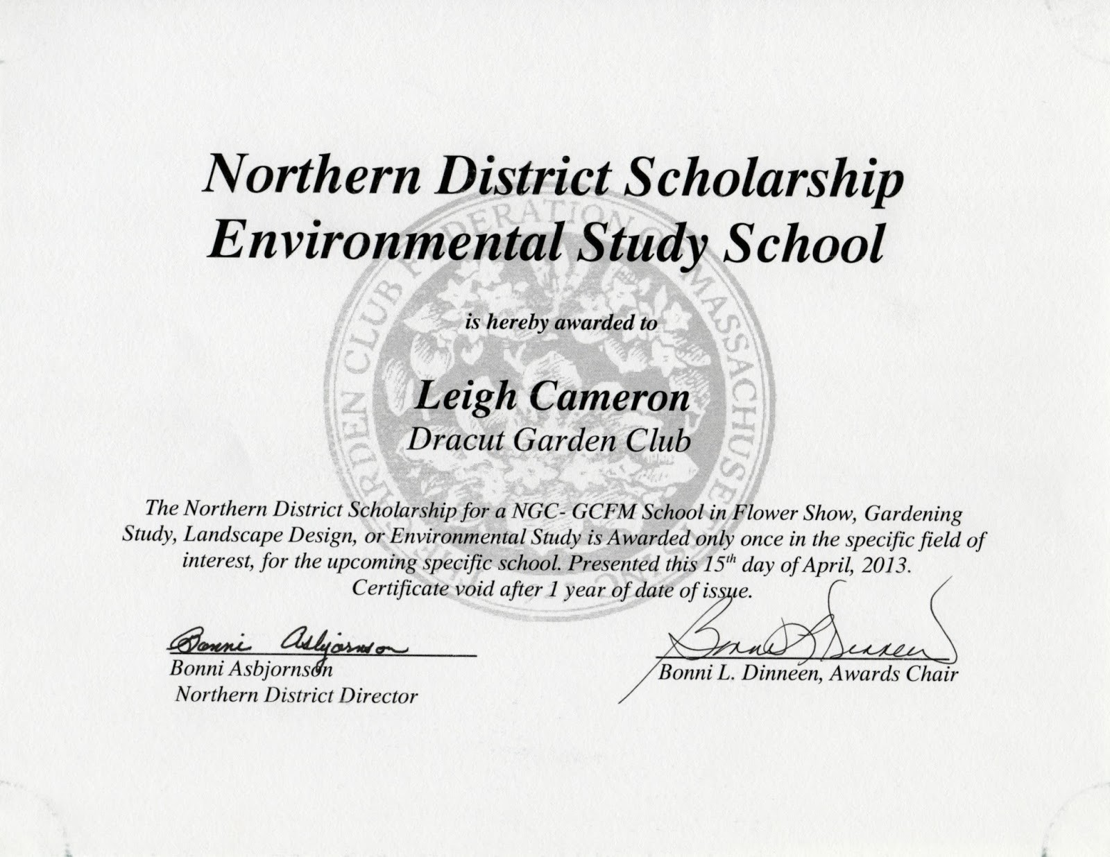 Scholarship Award Certificate Template Free Unique Dracut Garden Club Awards