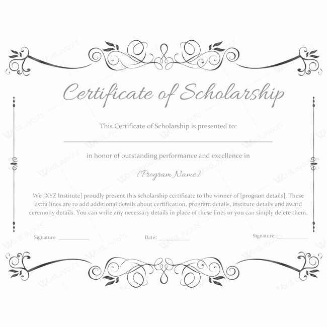 Scholarship Certificate Template for Word Beautiful 89 Elegant Award Certificates for Business and School events