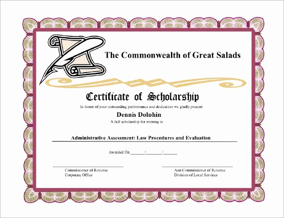 Scholarship Certificate Template for Word Elegant 7 Scholarship Certificate Templates Word Psd