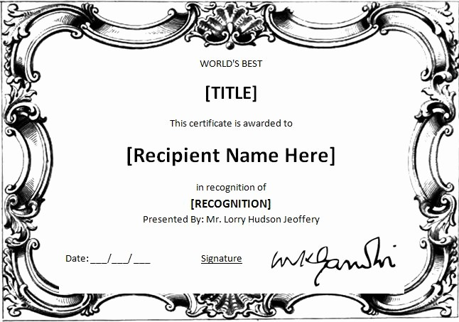 Scholarship Certificate Template for Word Fresh Ms Word World S Best Award Certificate Template