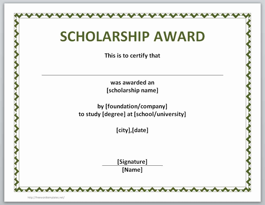 Scholarship Certificate Template for Word Inspirational 13 Free Certificate Templates for Word