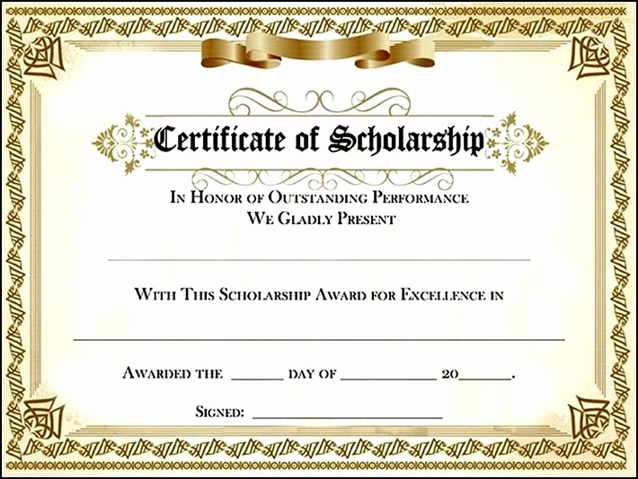 Scholarship Certificate Template for Word Luxury Scholarship Certificate Template Beautiful Template