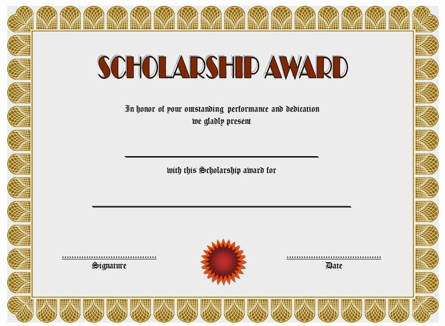 Scholarship Certificate Template for Word New 10 Scholarship Award Certificate Examples Pdf Psd Ai