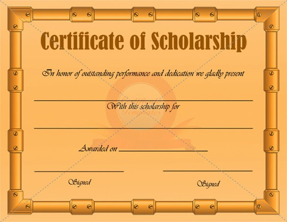 Scholarship Certificate Template for Word New 7 Scholarship Certificate Templates Word Psd