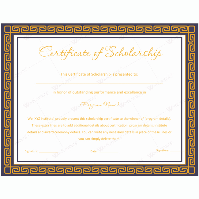 Scholarship Certificate Template for Word Unique 89 Elegant Award Certificates for Business and School events