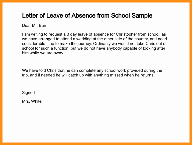 School Absence Excuse Letter Template Fresh 4 5 Sample Of An Excuse Letter for School