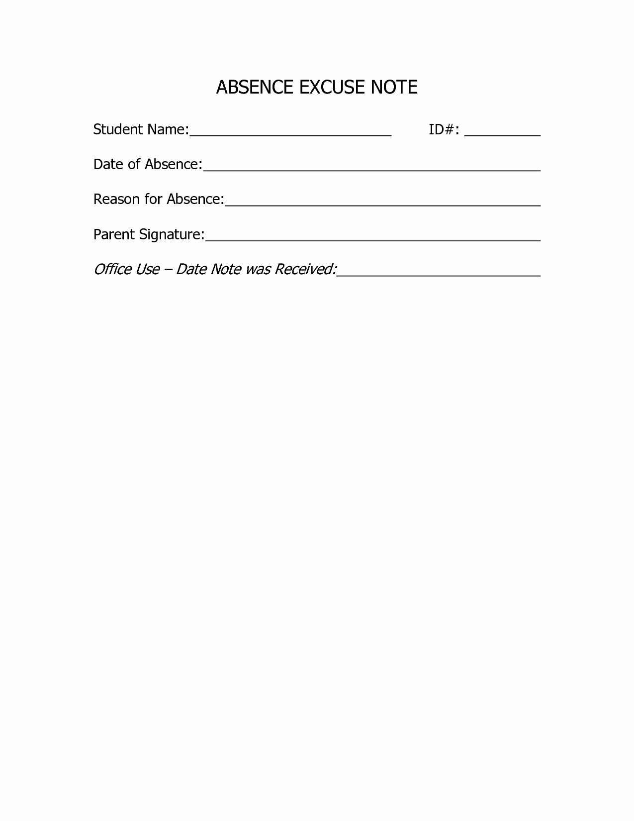 School Absence Excuse Letter Template Fresh 9 Best Of for School Doctors Note Template Free