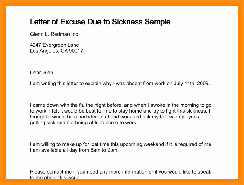 School Absence Excuse Letter Template Luxury 4 5 Excuse Letter for Being Absent at School