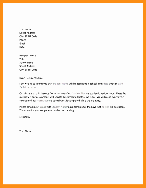 School Absence Excuse Letter Template Luxury 4 5 Sample Of An Excuse Letter for School