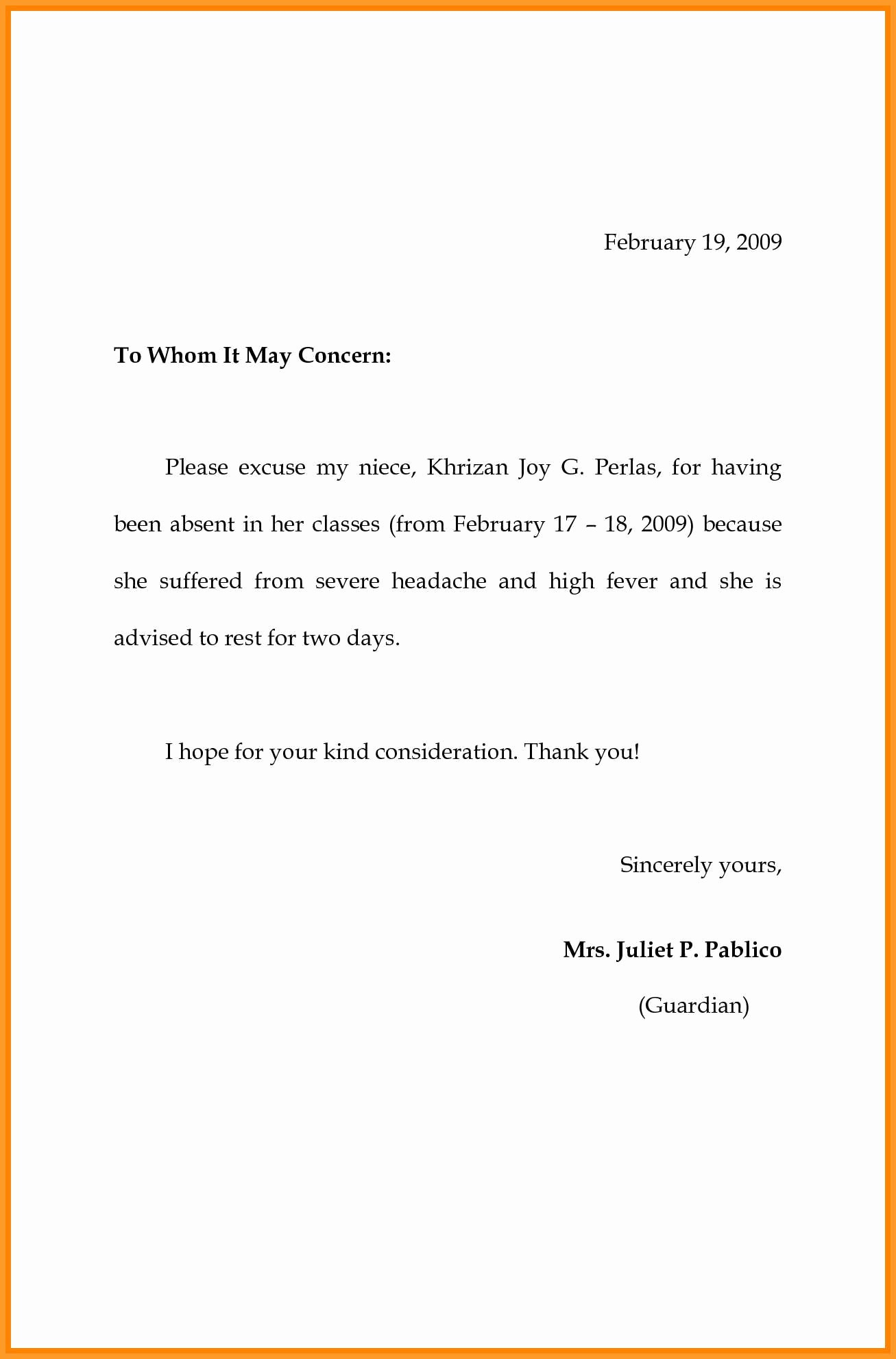 School Absence Excuse Letter Template Unique 4 5 Sample Of Absence Letter to School