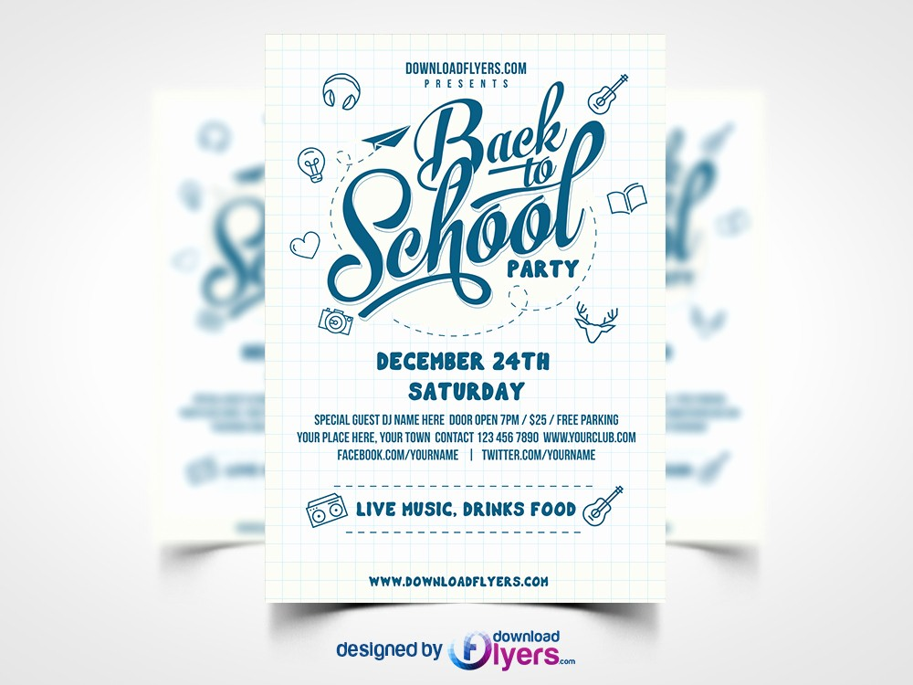 School Brochure Template Free Download Best Of Back to School Party Flyer Template Free Psd Download Psd