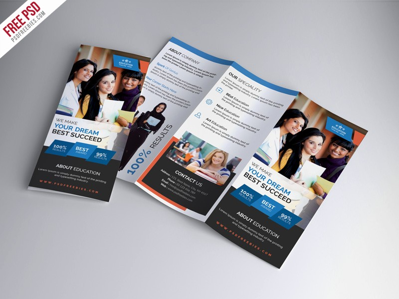 School Brochure Template Free Download Luxury University Education Tri Fold Brochure Psd Template