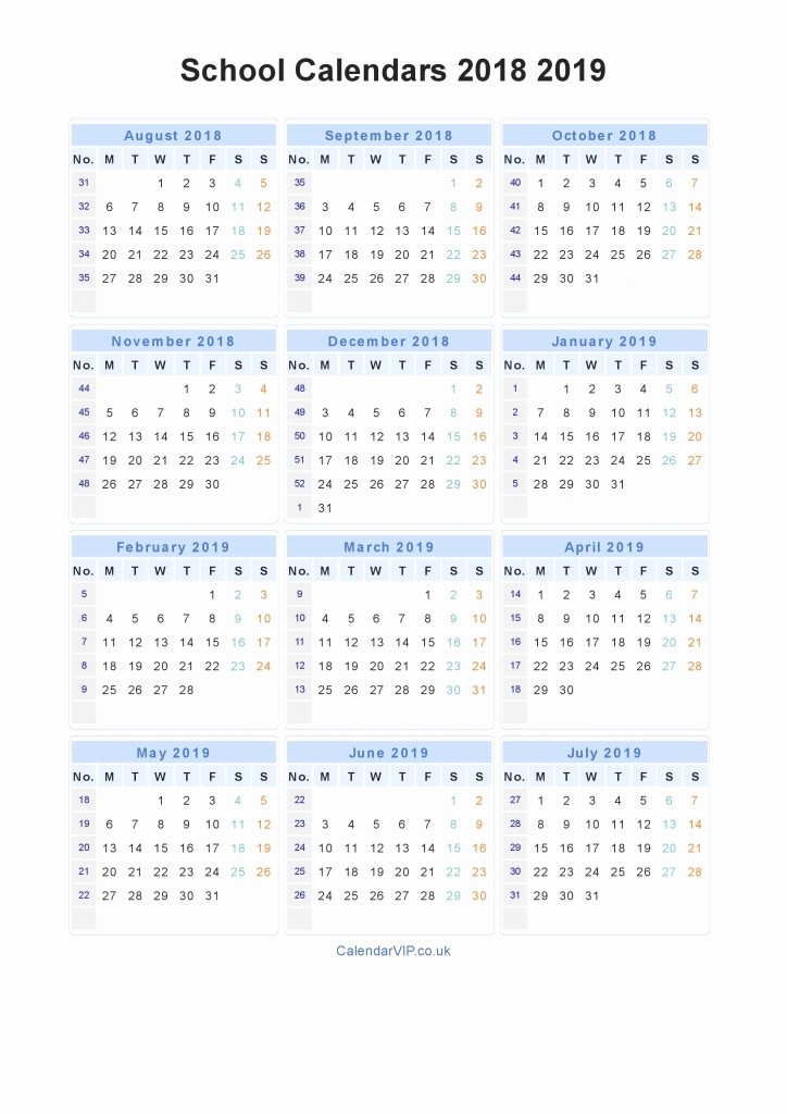 School Calendar 2018 19 Template Awesome Academic Calendar Template 2018 19