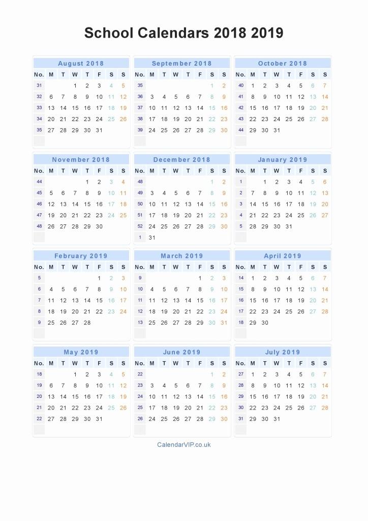 School Calendar 2018 19 Template Awesome Academic Calendar Template 2018 19