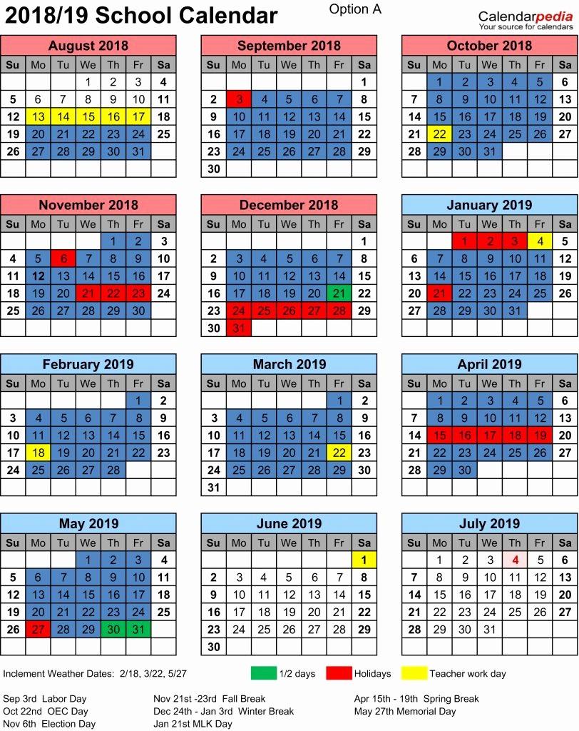 School Calendar 2018 19 Template Beautiful 38 Nyc Public School Calendar 2018 19