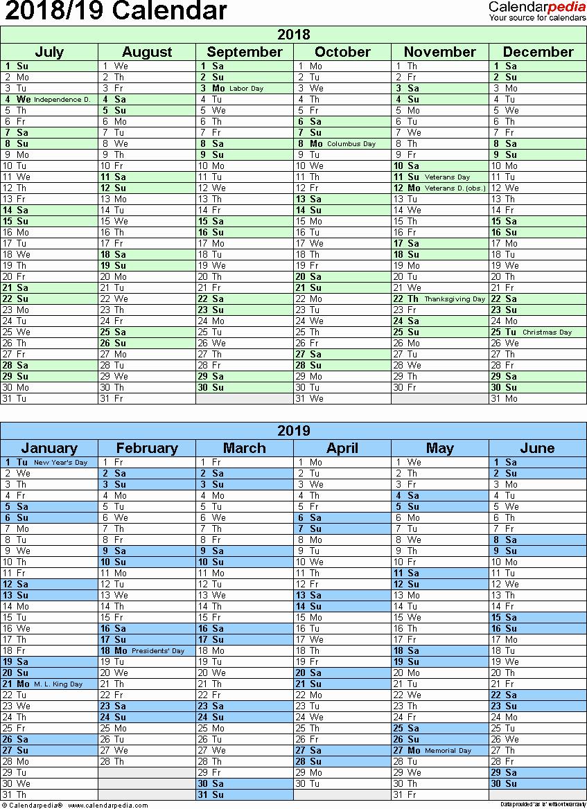 School Calendar 2018 19 Template Beautiful Split Year Calendar 2018 19 July to June Excel Templates