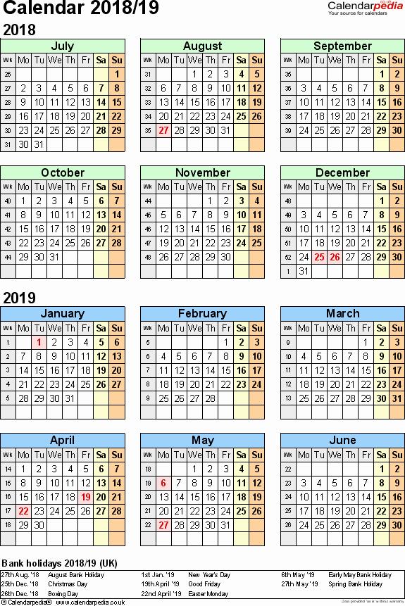 School Calendar 2018 19 Template Beautiful Split Year Calendars 2018 19 July to June for Pdf Uk