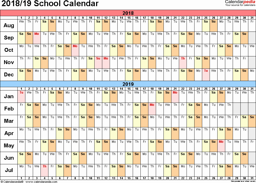 School Calendar 2018 19 Template Best Of School Calendars 2018 2019 as Free Printable Excel Templates
