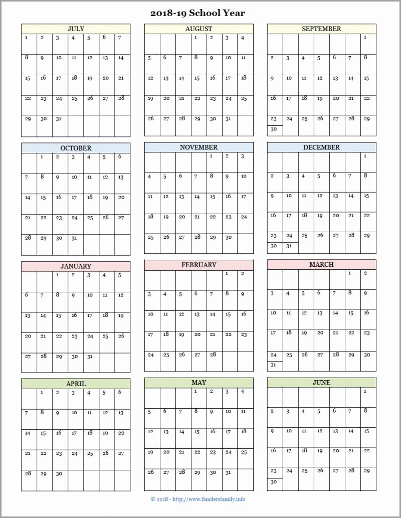 School Calendar 2018 19 Template Elegant Academic Calendars for 2018 19 School Year Free Printable