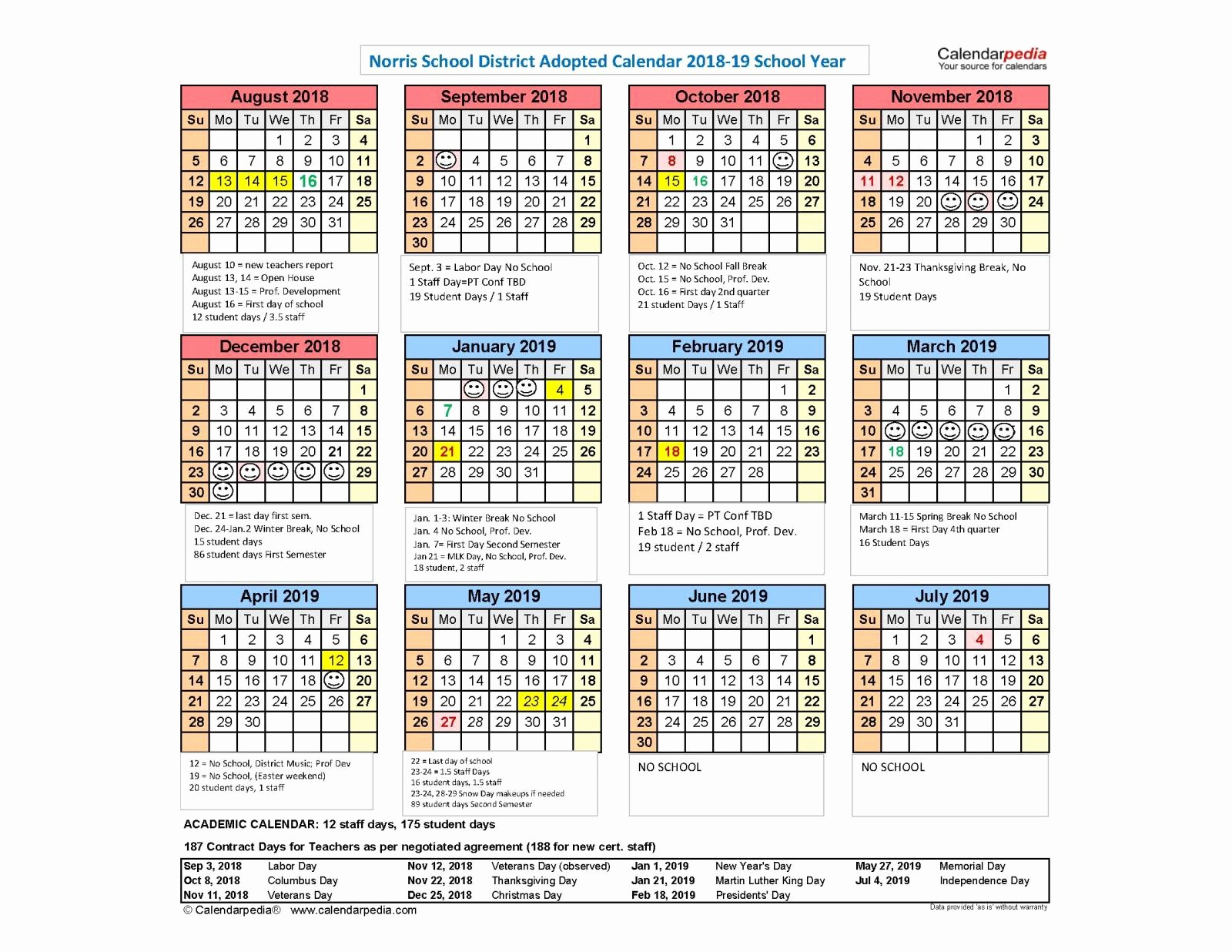 calendar 2018 19 school year available