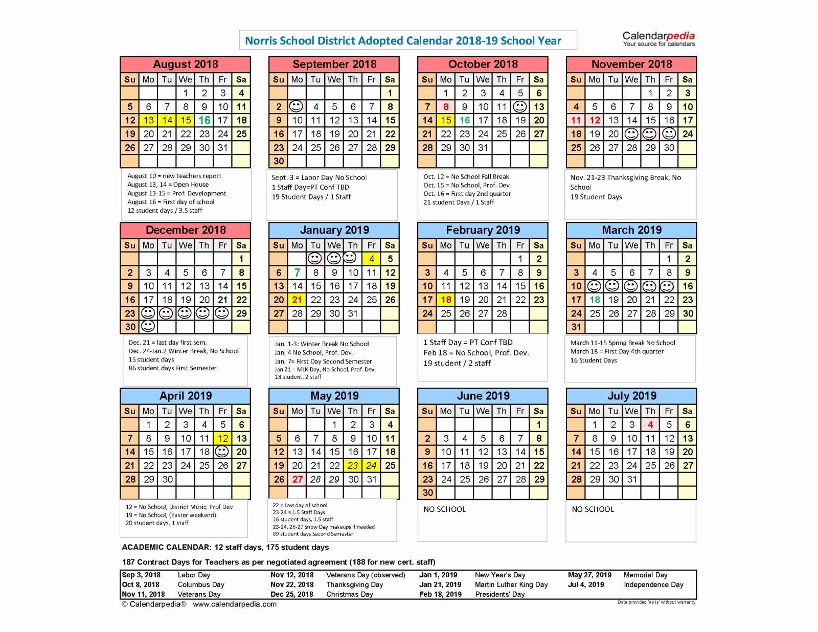 calendar 2018 19 school year available