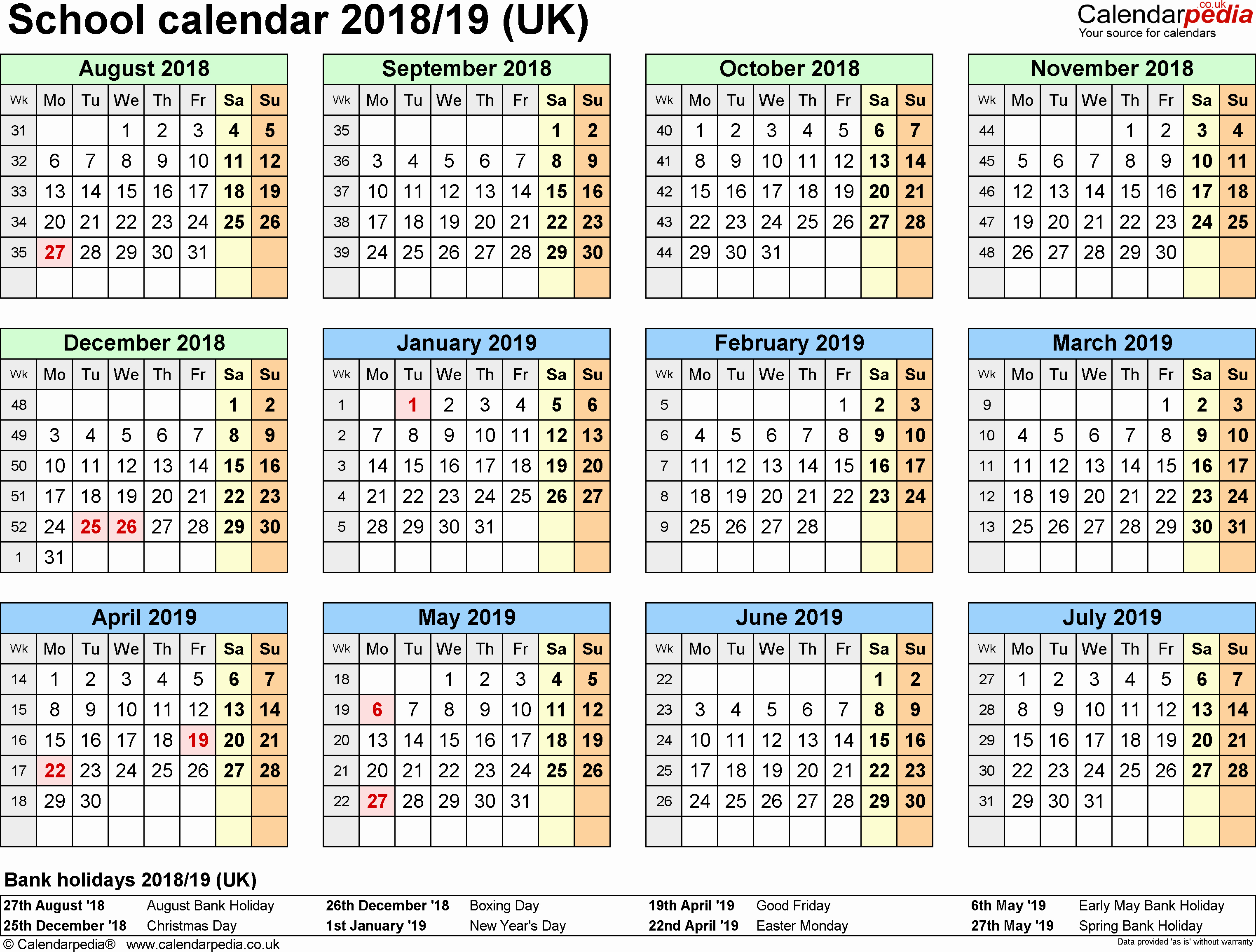 School Calendar 2018 19 Template Inspirational School Calendars 2018 2019 as Free Printable Word Templates