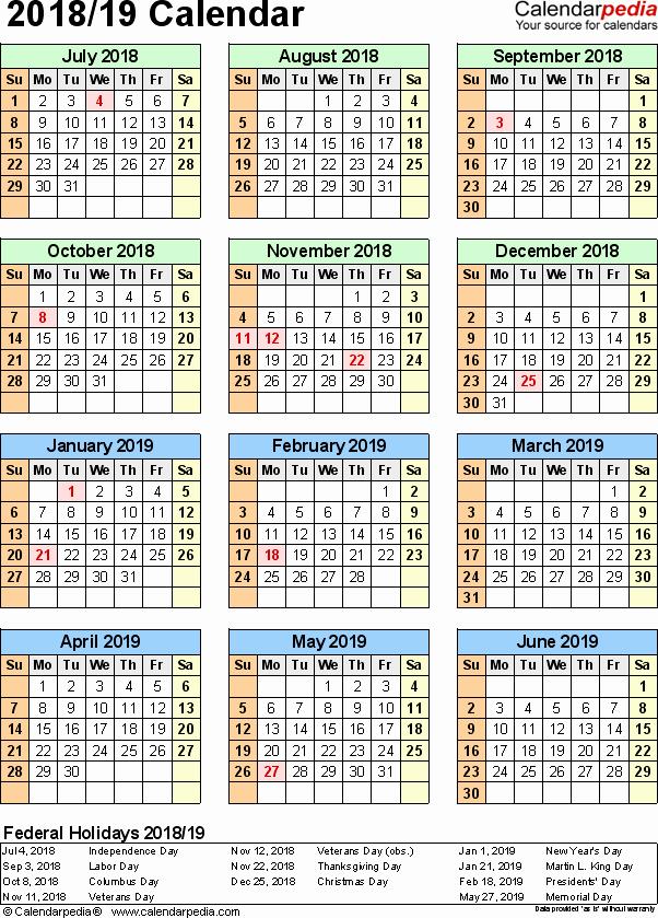 School Calendar 2018 19 Template Inspirational Split Year Calendar 2018 19 July to June Word Templates