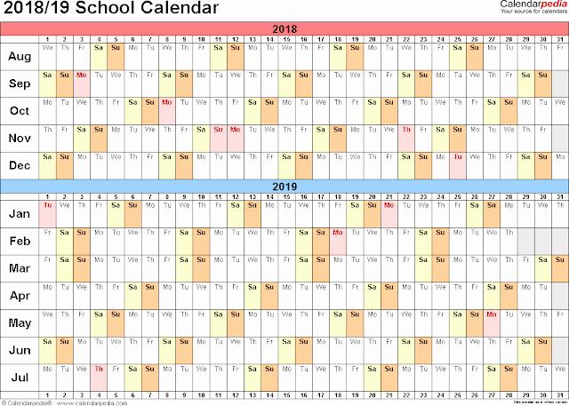 School Calendar 2018 19 Template Lovely School Calendar 2018 19