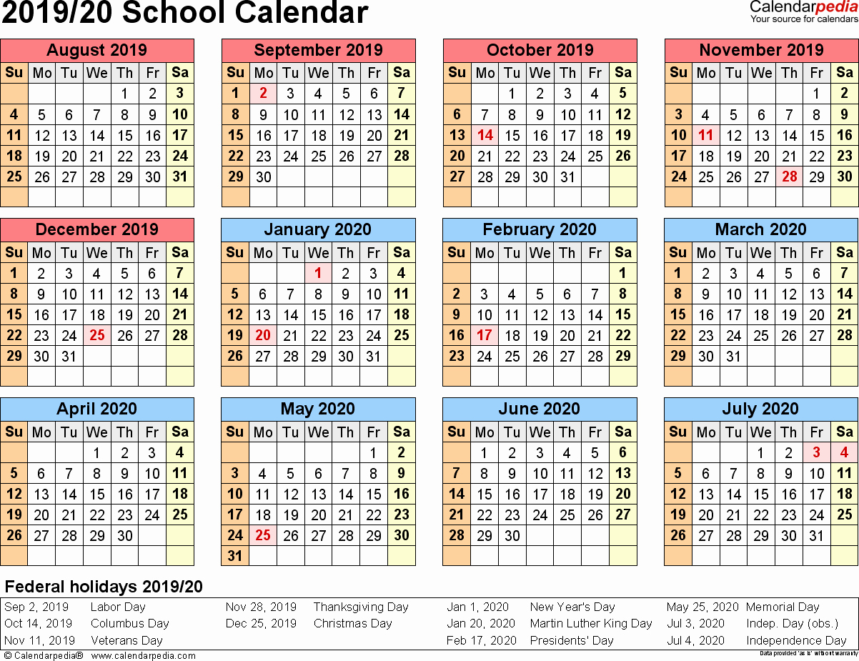 School Calendar 2018 19 Template Lovely School Calendars 2019 2020 as Free Printable Excel Templates