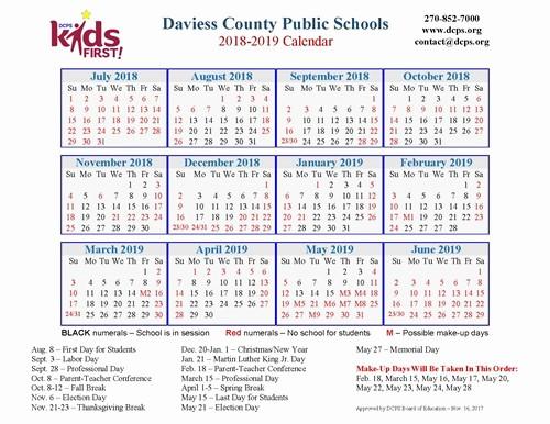 School Calendar 2018 19 Template Luxury Dcps 2018 2019 Calendar now Available Daviess County
