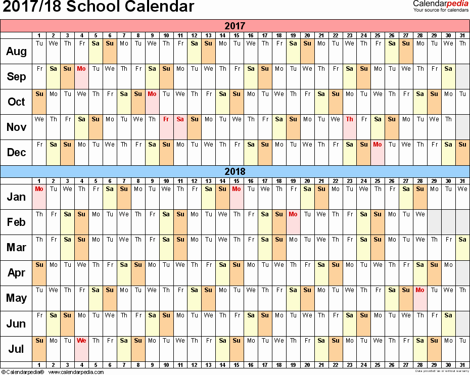 School Calendar 2018 19 Template Luxury School Calendars 2017 2018 as Free Printable Excel Templates