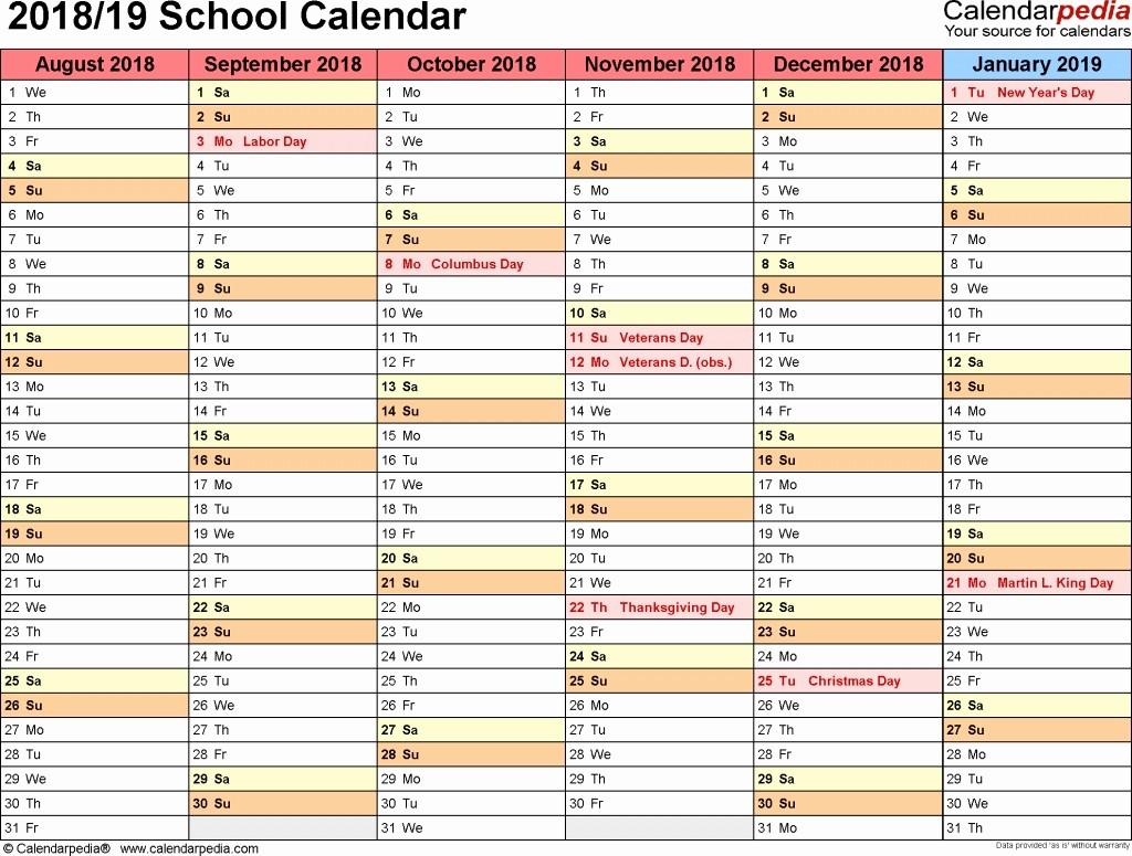 School Calendar 2018 19 Template Luxury School Calendars 2018 2019 as Free Printable Word