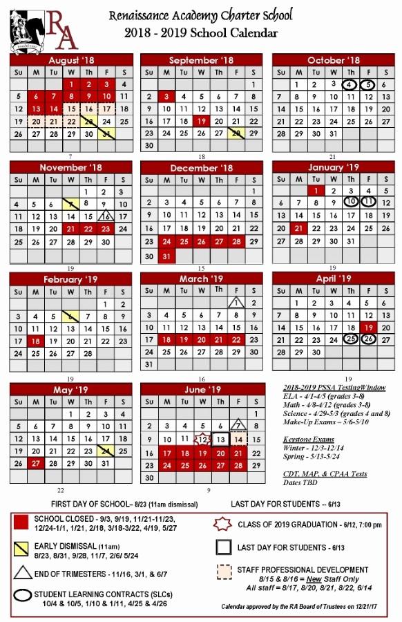 School Calendar 2018 19 Template New Printable 2018 2019 School Calendar Renaissance Academy