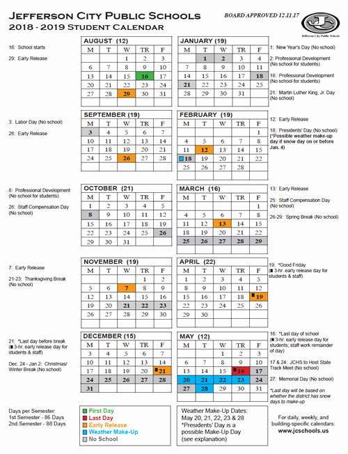 School Calendar 2018 19 Template New Yearly District Calendar Printable 2018 19 Student
