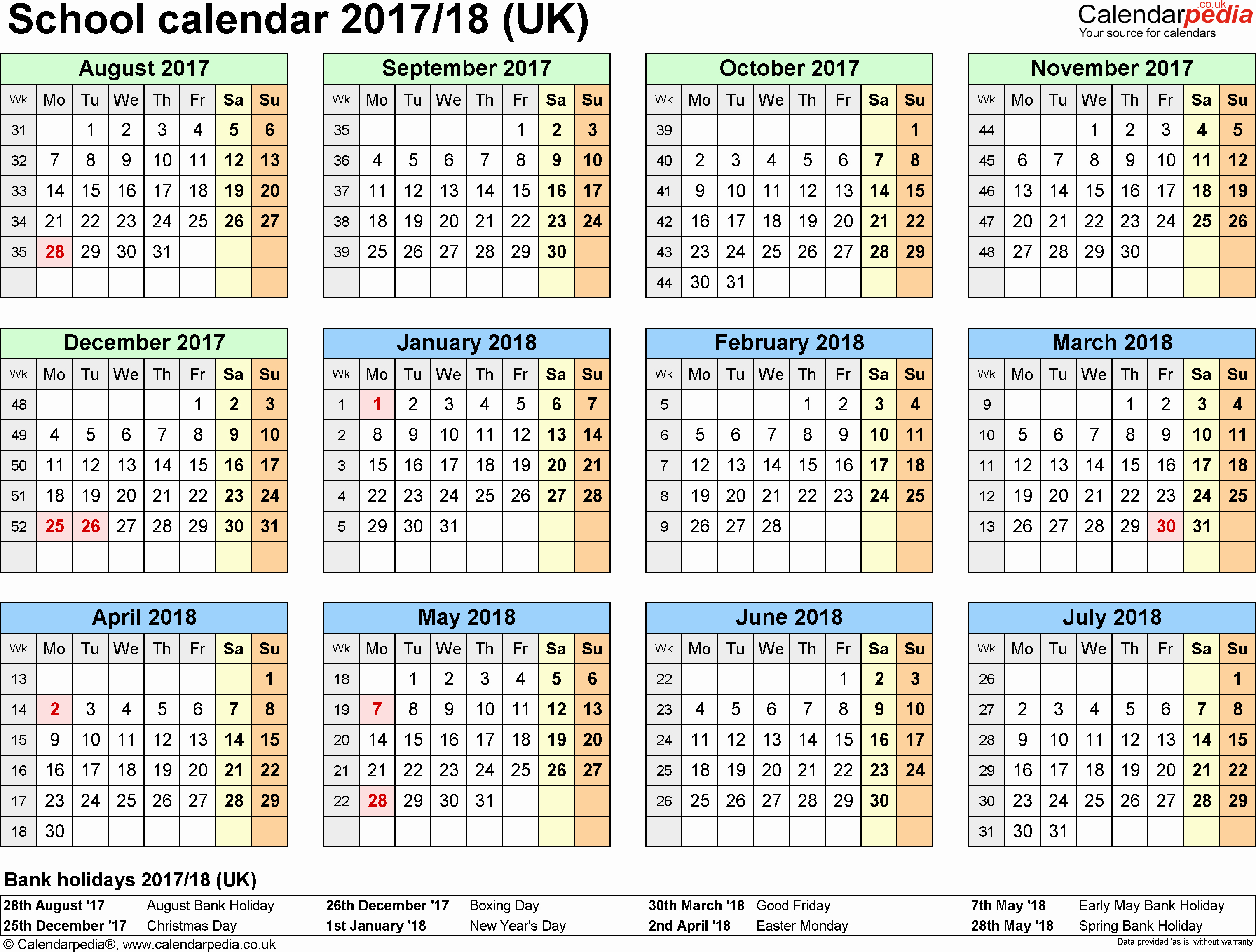 School Calendar 2018 19 Template Unique School Calendars 2017 2018 as Free Printable Pdf Templates