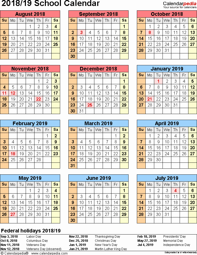 School Calendar 2018 19 Template Unique School Calendars 2018 2019 as Free Printable Excel Templates