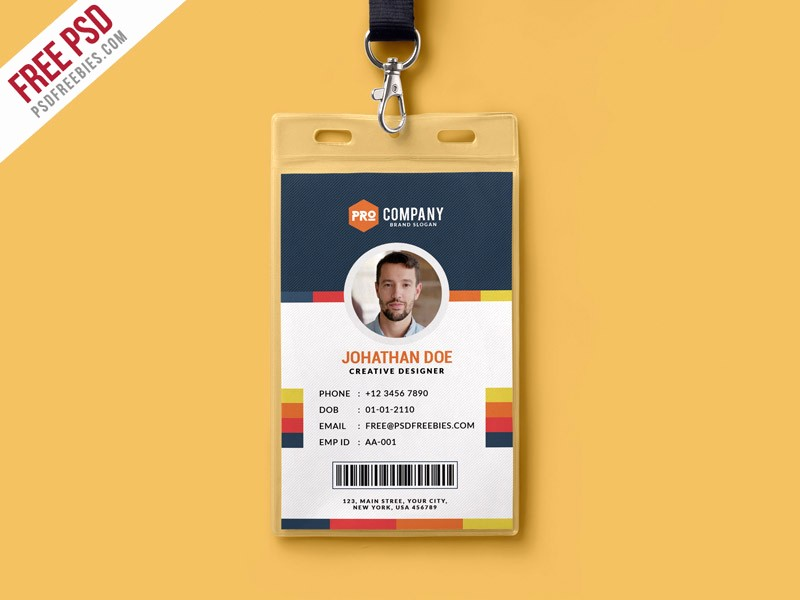 School Id Template Free Download Elegant Free Psd Creative Fice Identity Card Template Psd by