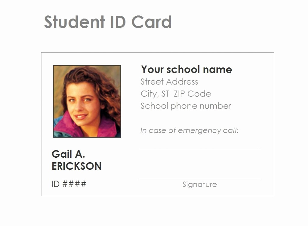 School Id Template Free Download Lovely Student Identification Card Template Free