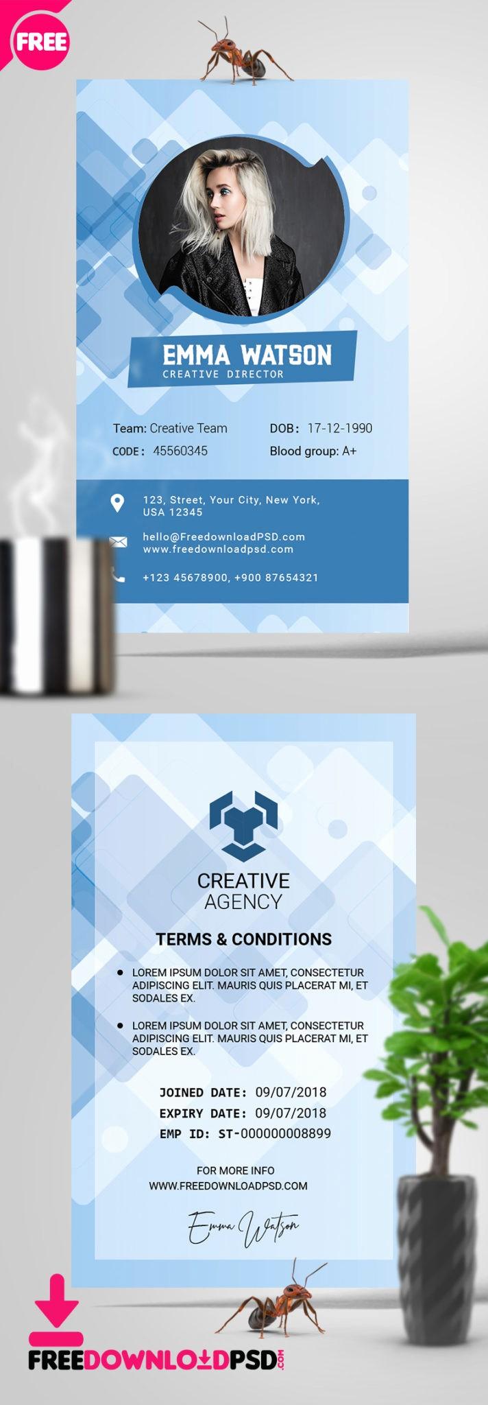 School Id Template Free Download Luxury [free] Fice Id Card Psd Template