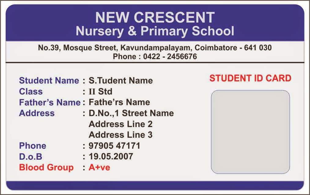 School Id Template Free Download New Id Card Coimbatore Ph Elementary School