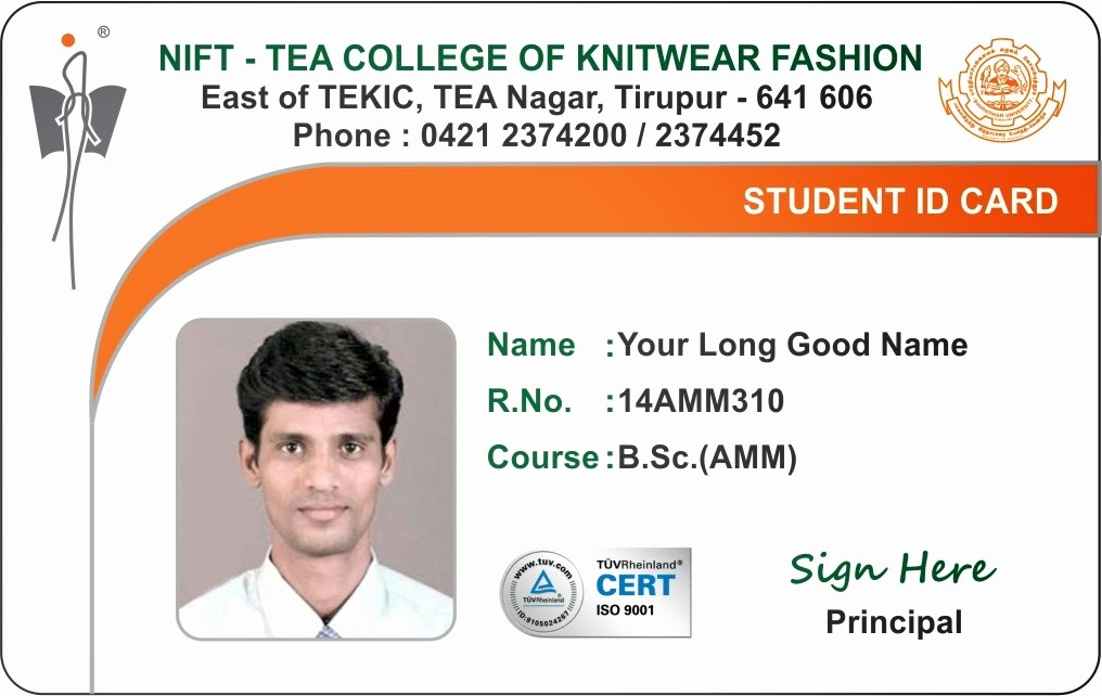 School Id Template Free Download Unique Id Card Coimbatore Ph College Student