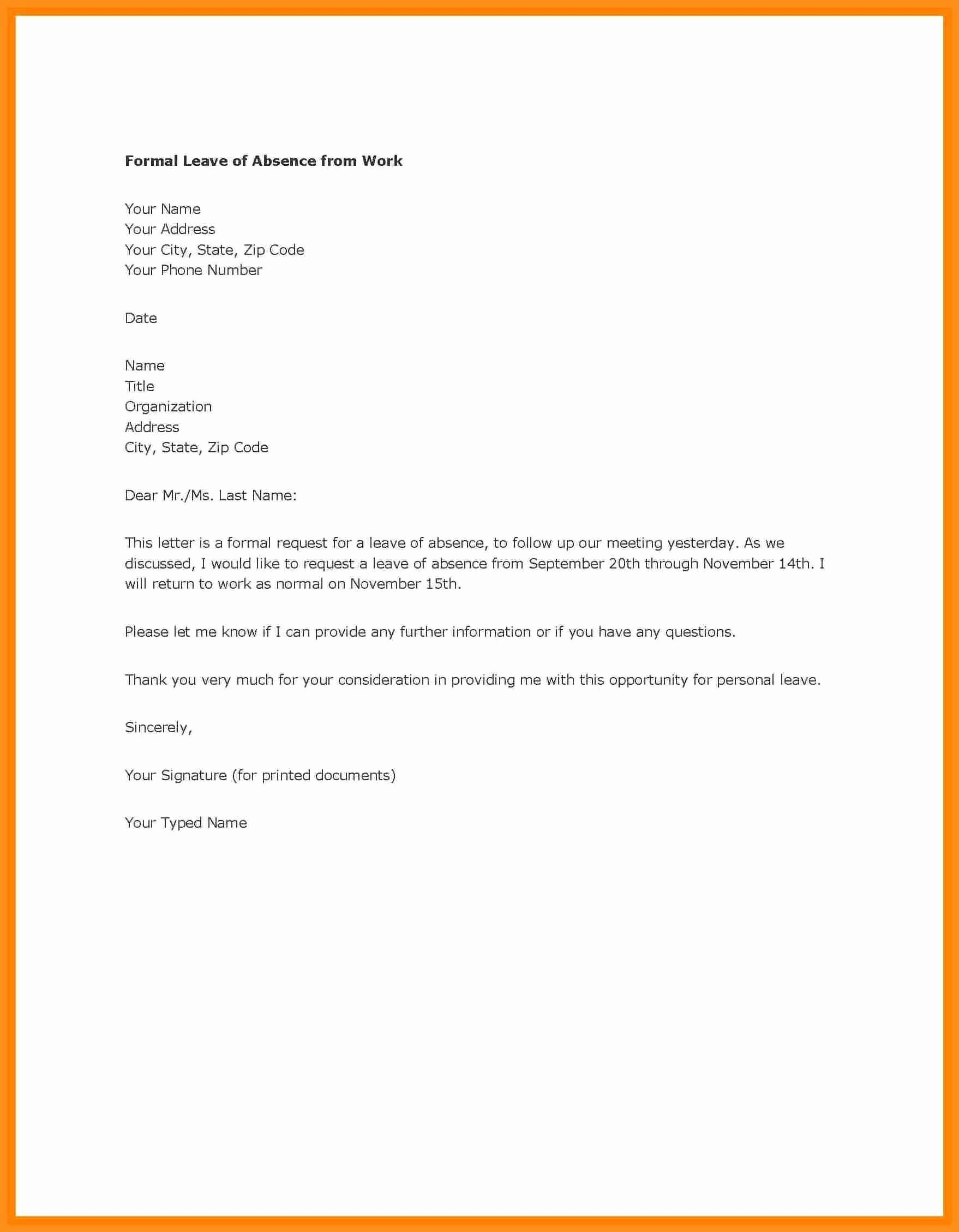 School Leave Of Absence Letter Awesome 12 Example Of Leave Of Absence