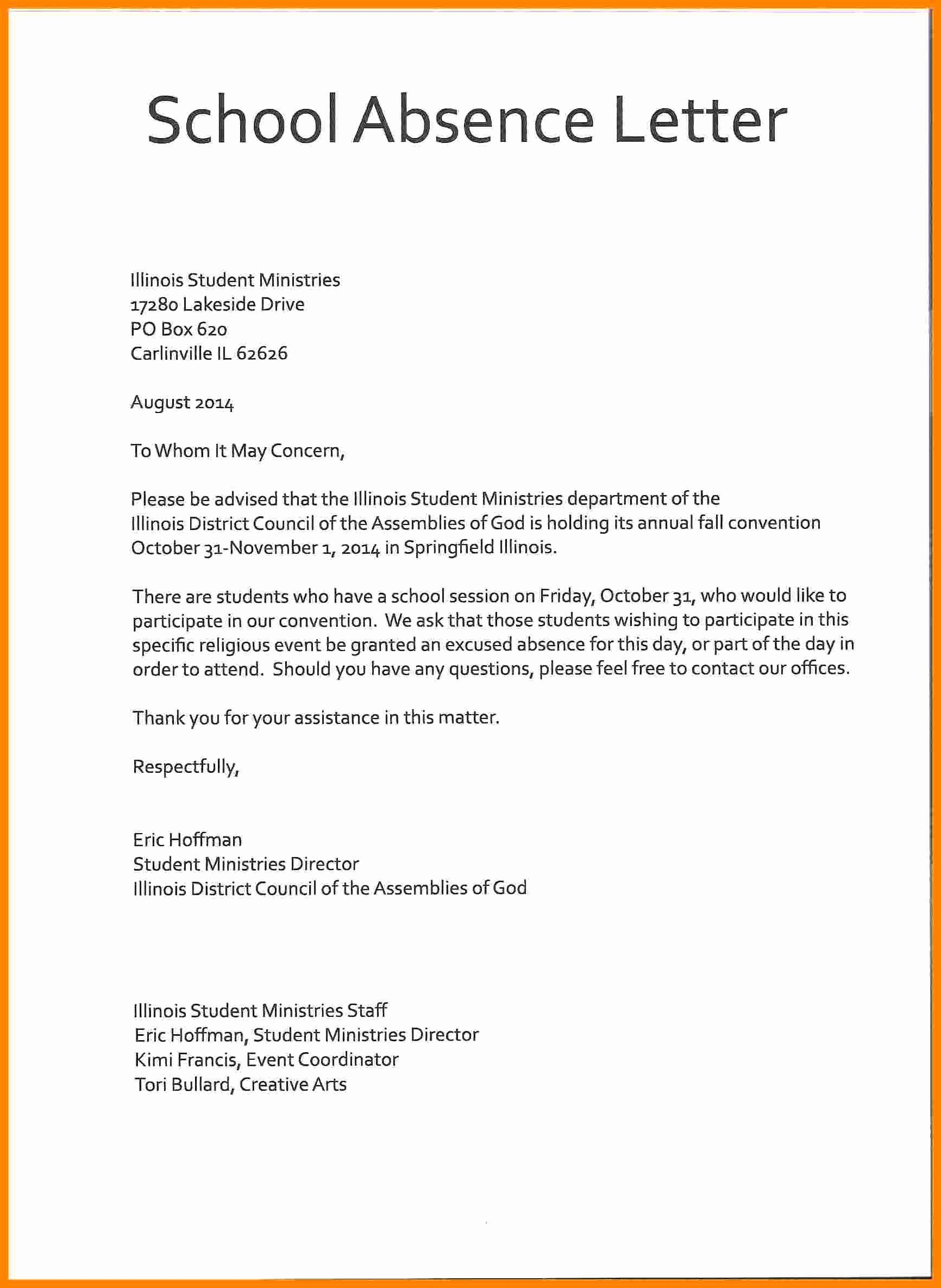 School Leave Of Absence Letter Best Of 18 Letter to Leave School
