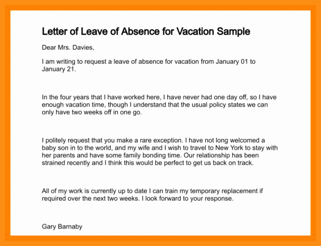 School Leave Of Absence Letter Best Of 3 4 Absent Letter to School for Vacation