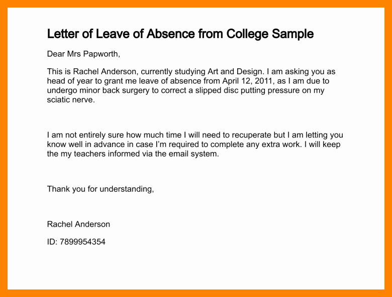 6 school application letter for leave of absence