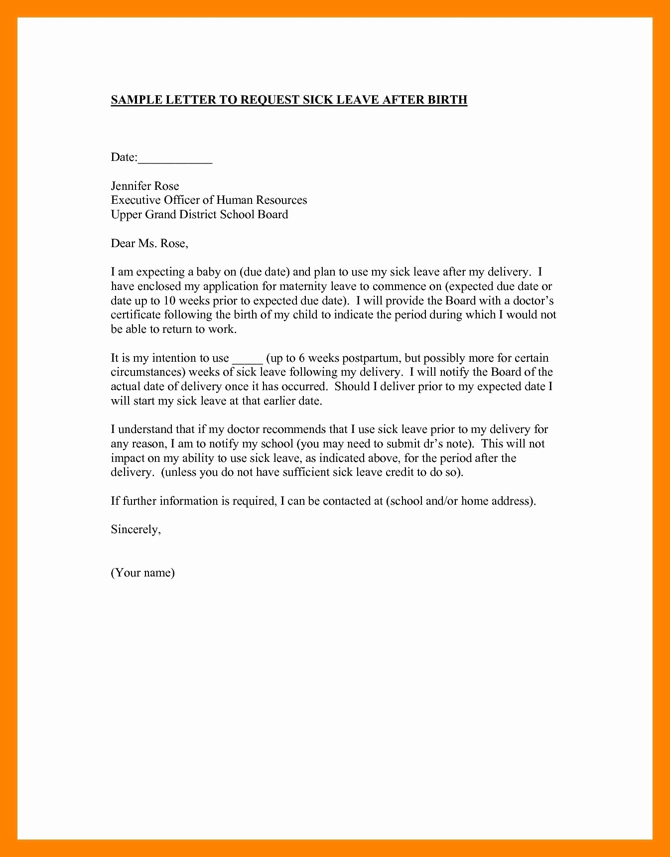 School Leave Of Absence Letter Inspirational Personal Leave Absence Letter Template Collection