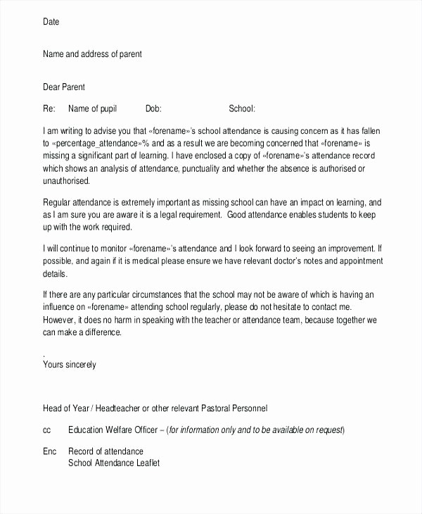 School Leave Of Absence Letter Inspirational School attendance Letter Template Absent for Sick Absence