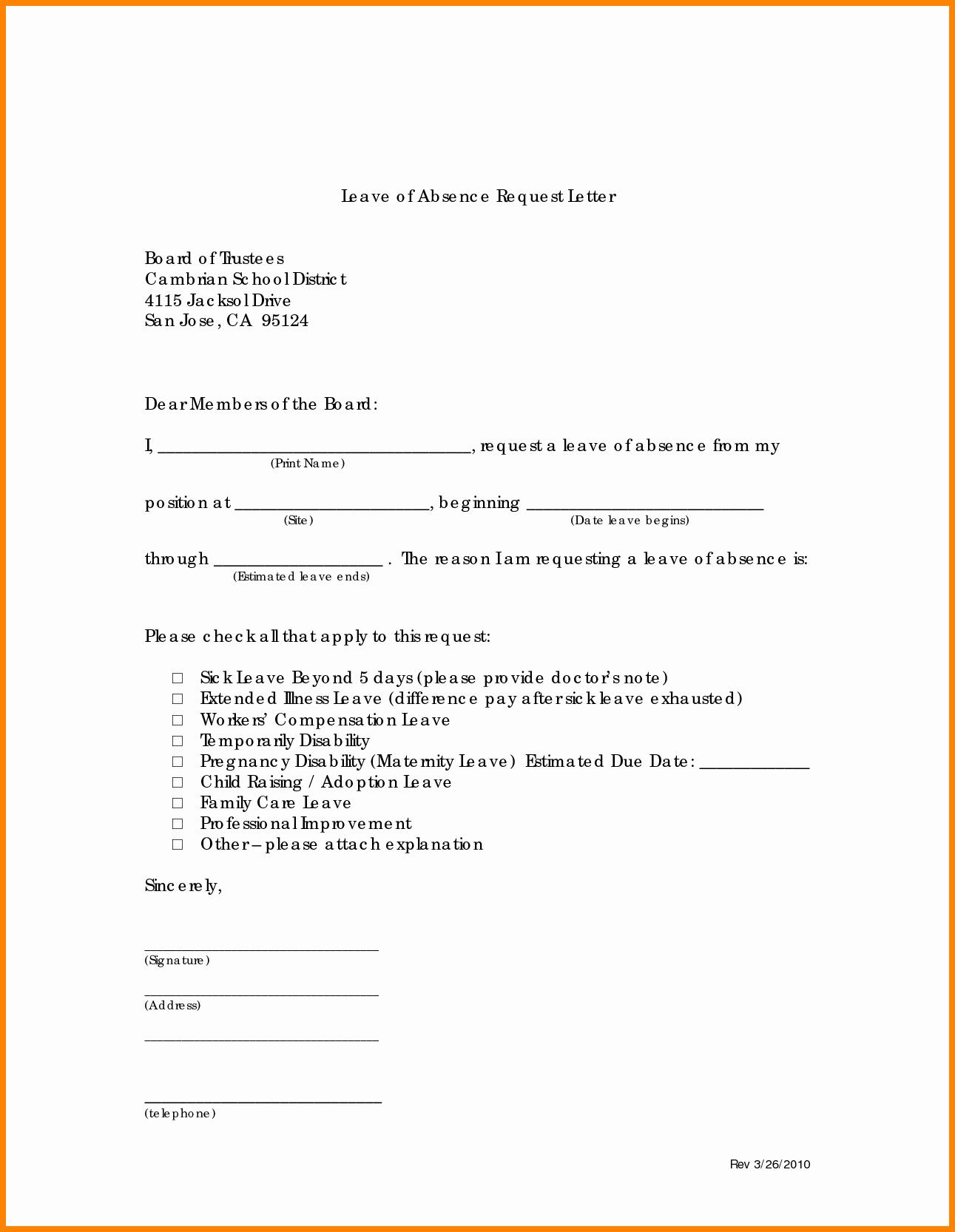 School Leave Of Absence Letter Lovely 8 Family Leave Of Absence Letter