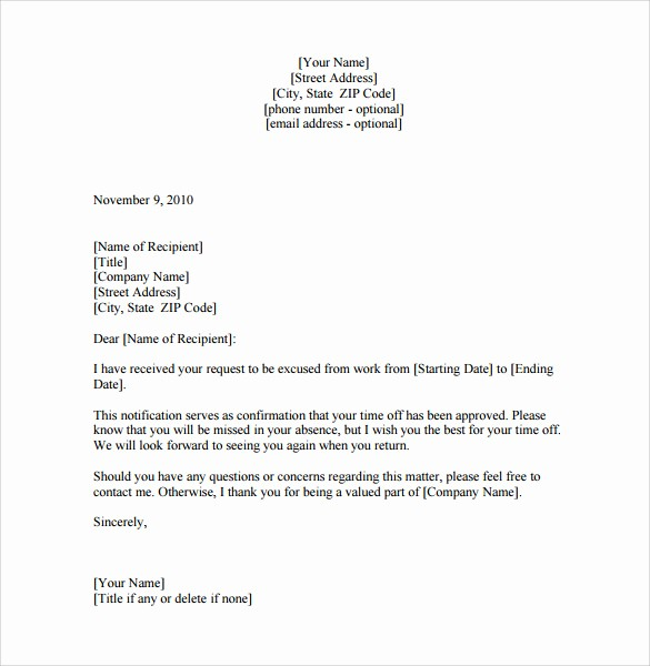 School Leave Of Absence Letter Unique 8 Leave Of Absence Letters – Pdf Word