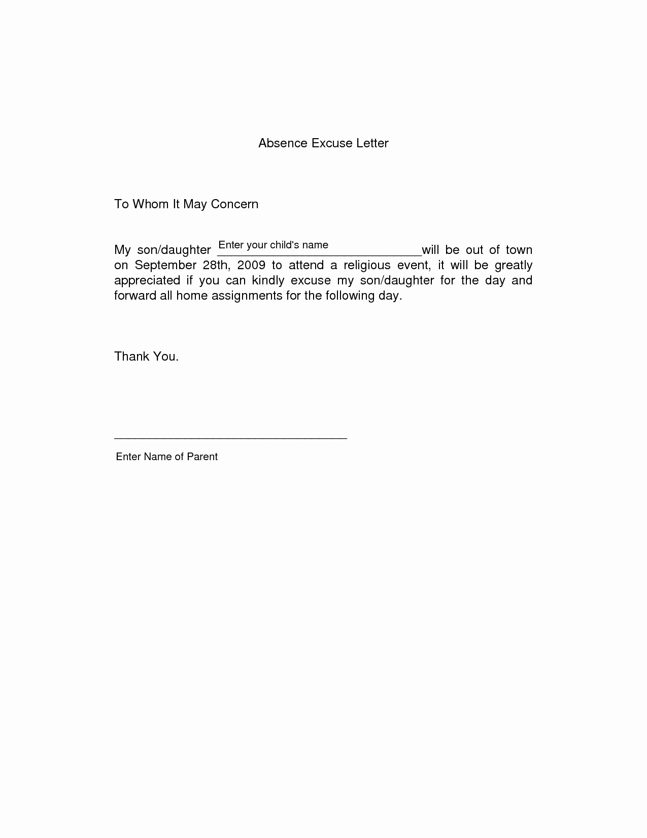 format of excuse letter for being absent